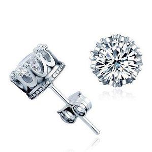 Moda 925 corona de plata esterlina CZ diamante simulado Stud pendientes para mujeres hombres joyería de la boda regalo envío gratis