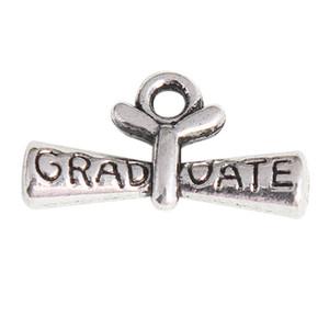 Encantos del diploma de la graduación de la aleación plateada Anti-Silver para las pulseras de los collares que hacen el envío libre 11 * 21m m AAC1191