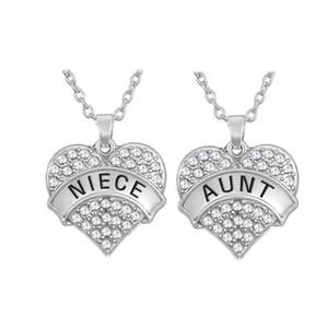 Conjunto de 2 de cristal amor grande coração forma sobrinha e tia pingente banhado a prata colar austríaco lembrança jóias