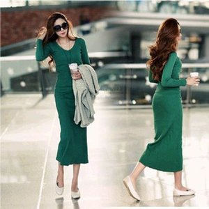 Vestido hot winter women Long Dress of micro V-neck sexy Slim package hip tight knit bottoming Dress Autumn Vestidos