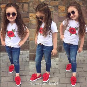 Çocuklar yürümeye başlayan kız bebek kısa kollu pamuklu rahat kızlar sevimli tişört düz renk Tees giysiler başında beyaz tişört bebek moda giysiler gül