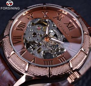 Forsining esqueleto relógio transparente número romano relógios homens vencedor de luxo marca mecânicos homens big face watch relógios de pulso steampunk