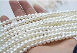 Wholesale 5pcs 9-10mm Near-Round White Freshwater Loose Pearl Necklace Bracelet   Cheap Free Shipping