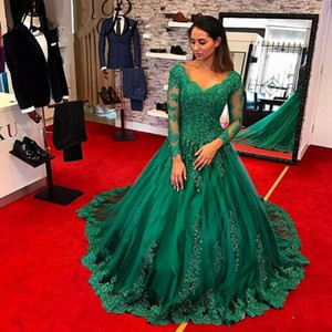 2020 Nova Árabe Modest Bola Verde Vestido Vestidos V-Neck mangas compridas Robe De Soiree formal do partido vestido Plus Size personalizado Prom Vestidos 072