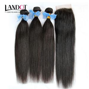 Filipino Straight Reine Haar Spinnt Mit Verschluss 4 teile / los Unverarbeitete Filipino Menschliches Haar 3 Bundles Und Spitze Verschlüsse Frei / Mitte / 3 Teil