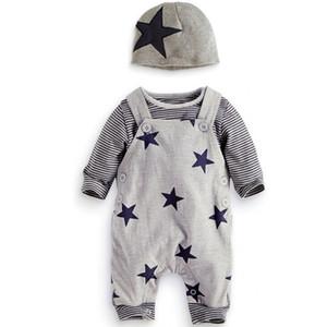 bebê 6m 3 anos conjuntos de estrela, meninos / meninas roupas de primavera, (chapéu + camisa + calças Suspender), roupas boutique queda de manga comprida, R1AA802CS-05