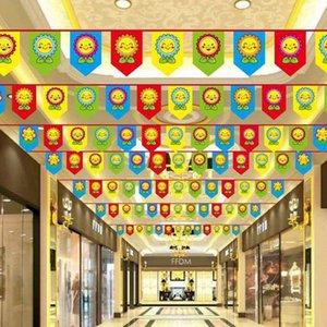무료 배송 Birthday pull flag 미소 태양 꽃 대각선 깃발 파티 장식 레이아웃 종이 색 플래그 BF005 Banner Flags mixed order