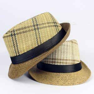 Al por mayor-Nuevo 2016 Panamá Fedora Sombreros para Mujeres Hombres Jazz Caps Sombrero de Copa Unisex Straw Sun Beach Cap Breve Estilo 3 color opcional