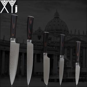 """XYJ Damaskus-Messerset 8-Zoll-Koch 8 """"Schneiden von 5,5"""" Utility 5 """"-Dienstprogramm 3,5"""" Obstmesser Damaskus Edelstahl-Küchenmesser."""