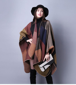 1PCS autumn winter scarf grid woman travel shawls wool spinning ladies National intensification cloak 18colors cape christmas party cappa