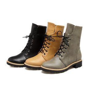 حار نساء بنات بو الجلود أحذية كعب مربع الدانتيل يصل الكاحل مارتن الأحذية B604 لنا حجم 4-10.5 الأسود والأصفر والرمادي