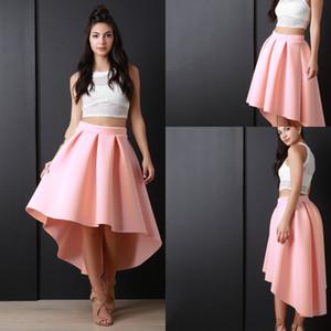 Lo nuevo Pink High Low Women Skirs para Adolescentes Plisados de satén Una línea Prom Party Dresses Zipper Volver Niñas faldas del desfile baratos