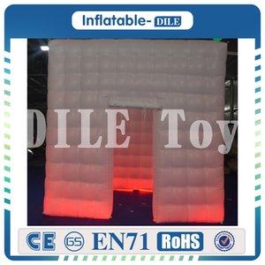 Party und Hochzeit Kulisse 2,25 * 2 * 2,25m Platz Inflatable Fotokabine LED Cube Photo Booth Zelt mit Streifen-Lichtern
