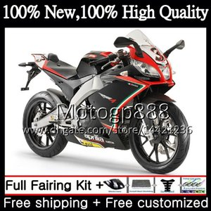 사출기 New for Aprilia RS4 RS125 12 13 14 15 16 RS-125 1PG13 RSV125 RS125RR 레드 블랙 RS 125 2012 2013 2014 2015 2016 페어링 차체