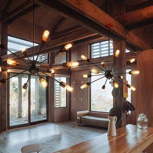 Спутниковые люстры старинные кованого железа кованого железа люстра Кристалл сферические паук лампа E27 Эдисон кулон освещение бар