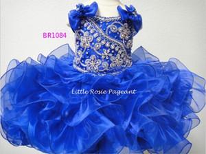 2019 Date Robe De Bal Royal Bleu Organza Enfants Petites Filles Pageant Robes Anniversaire Robes De Fille De Fleur