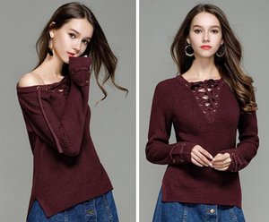 2017, new autumn pullover, female burst, V collar, long sleeved knitted sweater solid colorsweater