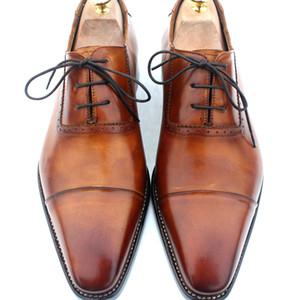 Zapatos de vestir de hombre Zapatos Oxford en artesanía Goodyear Zapatos de hombre Custom Handmadeshoes Zapatos Derby de piel de becerro genuinos color marrón HD-N130