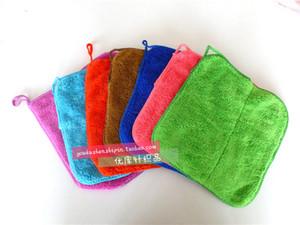 Colores de las clases de gruesas pequeñas nuevos colores mezclados Cuadrados suaves y absorbentes de terciopelo Coral doble capa toalla vinculado paño limpio toalla de limpieza