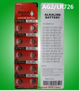 500cards AG2 LR59 396A LR726 SR726 197 bouton alcalines montre 1.5V cellules 10PCS / PACKS