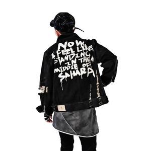 Vestes Homme 2018 Automne Hommes Veste En Denim Graffiti Hip Hop Jeunes Punk Homme Vintage Frayed Hole Moto Zips Noire Veste Cowboy Manteau