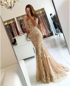 Champagne Lace Mermaid Evening Dresses 2020 Applique Sexy Backless Long Prom Dresses With Sleeves Women Party Gowns Formal Engagement Dress