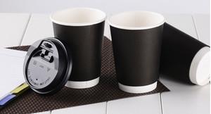 Wholesale- 20pcs 400ml tazza di carta nera, tazza di caffè monouso isolata termicamente con due strati per le caffetterie, stampa di marchio è disponibile