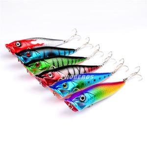 Melhor PS Painted Bionic ABS isca de pesca de Plástico 8 cm 12g Fly pesca popper poper manivela isca para pesca do robalo