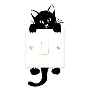 DIY 재미 귀여운 검은 고양이 스위치 스티커 데 칼 벽지 벽 스티커 홈 장식 침실 어린이 방 조명 팔 장식 스티커