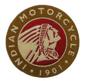 1901 MOTOCICLETA INDIA Rocker Hierro bordado en parche Motocicleta Biker Club MC Chaqueta delantera Chaleco punk Parche Bordado detallado