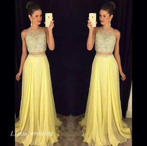 2019 Sexy due pezzi Prom Dress Giallo lungo chiffon formale occasione speciale vestito da partito Plus Size abiti da festa