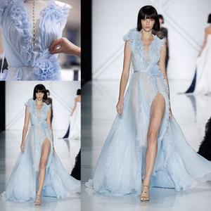 Sky Blue Elegant Split Вечерние вечерние платья с цветком +2018 Ralph Russo V-образным вырезом Ruffles Цветочные Измельчитель знаменитости мантий выпускного вечера