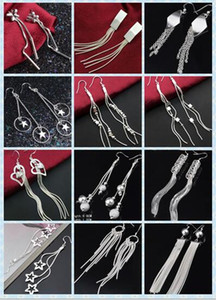 2016 nuovo placcatura 925 orecchini in argento donne fascino stelle stelle cuore farfalla farfalla nappe orecchini ordine misto 20 stile 10 paia / lotto