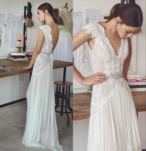 2017 Boho Wedding Dresses Lihi Hod New Bohemian Bridal Gowns with Cap Sleeves V Neck Pleated Skirt Elegant A-Line Bridal Gowns Open Back