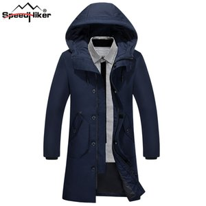 [Speed ​​Hiker] 2017 Winter Down Jacket Men Casual Long Thicken caliente con capucha Solid Duck Down Parkas abrigo frío Outwear chaqueta