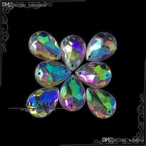 Toptan Satış - Toptan-13 * 18mm Kristal AB Bırak Rhinestone Düğmeler Akrilik Flatback Taşlar Kristal Taşlar Aplike El Sanatları Süslemeleri 500pc için dikmek