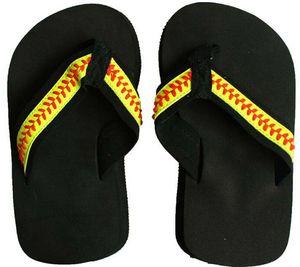 2018 Ücretsiz kargo sarı softbol flip flop Beyzbol beyaz deri sandalet taklidi çıkartmaları büyük çiçek şekli erkekler plaj spor ...