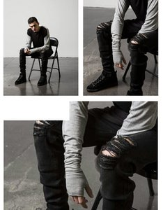 High Street Ripped Jeans Mens Fashion Cool Black Knee Holes Design Pencil Pants Slim Fit Trousers Clothes