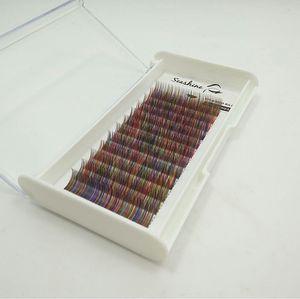 Proprio marchio arcobaleno colorato individuale ciglia prolunga vassoi Prezzo all'ingrosso a buon mercato seta ciglia finte imposta il trasporto di goccia