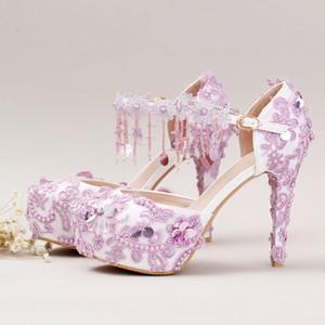 Lila Spitze Blume Brautschuhe mit bequemen Knöchelriemen Dame Hochzeit Sandalen Handmade Purple Theme Party Prom Pumps