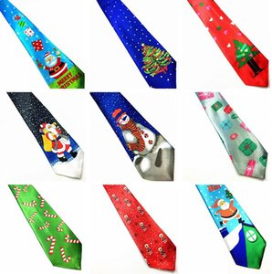 24 estilos de Navidad Lazos 9.5cm muñeco de nieve Árbol de Navidad de la novedad de la corbata rojo de Papá Noel del copo de nieve corbata de regalo de Navidad Para