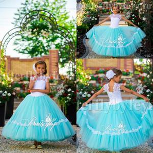 Pretty Mint Verde vestido de Baile Cap Mangas Longas Meninas Pageant Vestidos 2017 Lace Jewel Mangas Flor Meninas Vestidos