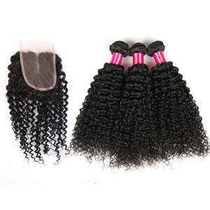 3Bundles 탑 헤어 레이스 클로저 Braziian Kinky Curly Hair Extensions 버진 말레이 맨 헤어 클로저 (4x4) ABalance Human Weft