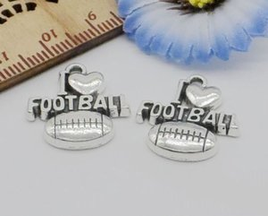 Free 100Pcs Antique Silver I love football Heart Charms Pendant For Jewelry Making 20x18mm
