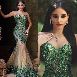 Emerald Green Hot Sexy sirena lentejuelas vestidos de noche cariño con cremallera Volver con cuentas ver a través de la falda tren de la capilla árabe vestidos de baile