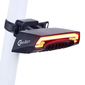 Meilan X5 Inteligente Bicicleta Traseira Luz Acessórios de Bicicleta Sem Fio Remota Controle Remoto Sinal de Bicicleta Luz Da Cauda Laser USB Recarregável