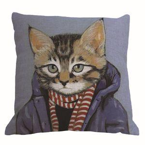 10 конструкций животных кошка в человеческой одежде чехлы творческий cojines современный almofadas 45 см диван бросить подушку случае домашнего декора