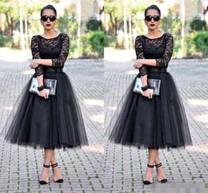 2019 thé longueur robes de bal cocktail 3/4 manches longues bijou une ligne noire robes de soirée dentelle longues robes de demoiselle d'honneur
