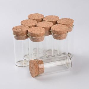 12 ml garrafas de tubo de ensaio de vidro vazio com rolha de cortiça transparente mini Frascos Frascos Food Spice Garrafas 100 pcs Frete Grátis