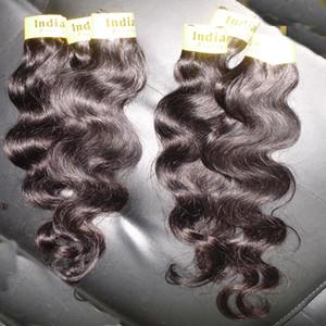 Grado 7A 100% procesado indio puro hinchables humano extensiones de cabello tejido 8pc / lot tramas onda del cuerpo silkly envío rápido libre